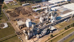 Aerial capture of factory of wood derivatives.