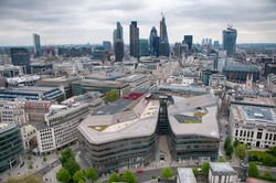 Aerial City View Architectures of London England, Emphasizing Tallest Buildings in the Capital City.