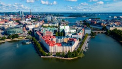 Aerial city view focused at the diverging buildings in Helsinki