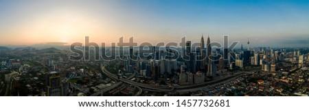 Aerial city view of Kuala Lumpur, Malaysia during sunrise #1457732681