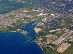 aerial city view of the Windsor bay area in Oshawa Ontario Canada