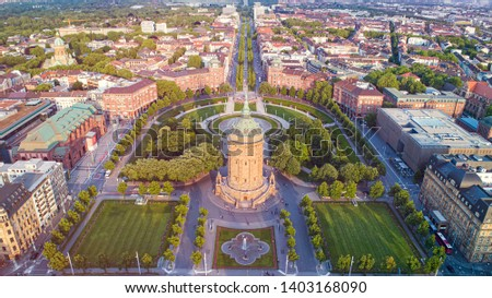 Aerial Cityscape of Mannheim, Germany with Water Tower Park and Street #1403168090