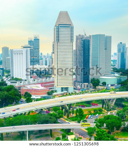 Aerial cityscape of modern Singapore metropolis with infrastructure  #1251305698