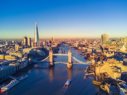 Aerial cityscape view of London and the River Thames, England, United Kingdom