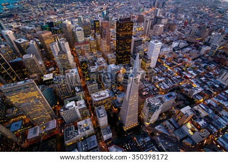 Aerial cityscape view of San Francisco, California, USA #350398172