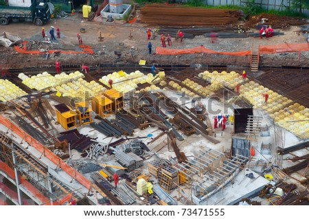 Aerial detailed view of a civil construction site