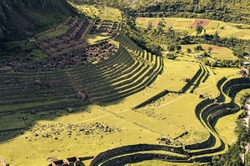 Aerial distant view of Llactapata ruins on inca trail to Machu Picchu archaeological site from the Inca's ancient civilization in Peru. South America