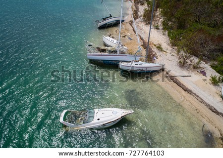 Aerial drone image boats sunken after Hurricane Irma Florida Keys