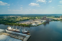 Aerial drone image of Lake Charles Louisiana