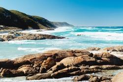 Aerial (drone) landscape photo of the South Australian coastal landscape.  Beautiful coastline with rocks, cliffs, foliage and rough waves.