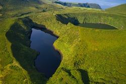 Aerial drone landscape view of Lakes Lagoa Comprida and Lagoa Negra (