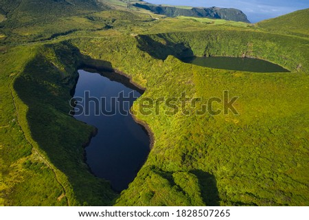 Aerial drone landscape view of Lakes Lagoa Comprida and Lagoa Negra ('Large and Black Lakes') in Flores Island, Azores Archipelago, Portugal.  Photo stock ©