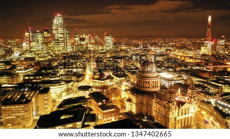 Aerial drone night shot of iconic landmark   Saint Paul Cathedral in the heart of City financial district of London, United Kingdom