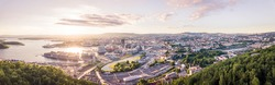Aerial drone, Oslo skyline sunset, HDR panorama photo form drone