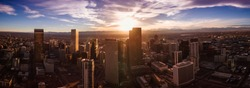 Aerial/Drone panorama.  Capital city of Denver Colorado at sunset