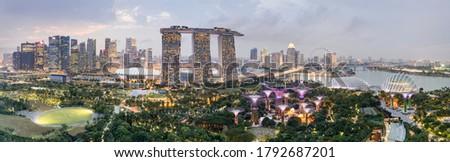 Aerial drone panorama image of the Singapore skyline  Photo stock ©