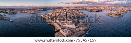 Aerial drone panorama sunrise photo - Ancient capital city of Valletta Malta.  Island Country of Europe in the Mediterranean Sea Stock fotó ©
