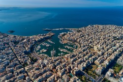 Aerial drone panoramic photo of Piraeus and Marina of Zea (pasalimani) in daylight, Attica, Greece.
