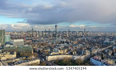 Aerial drone photo of British Telecoms Tower in the heart of London, United Kingdom