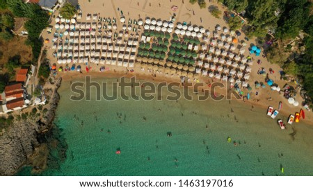 Aerial drone photo of famous organised sandy paradise beach of Kalogria in the heart of Messinian Mani next to iconic village of Stoupa, Peloponnese, Greece
