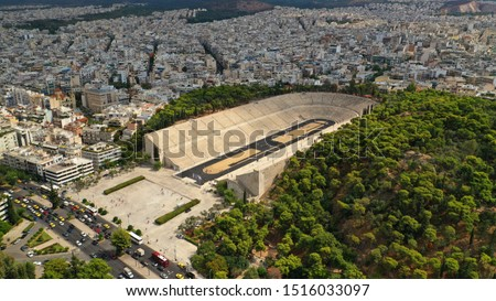 Aerial drone photo of iconic ancient Panathenaic stadium or Kalimarmaro, Athens historic centre, Attica, Greece