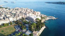 Aerial drone photo of iconic and historical center of old Corfu town, Kerkyra island, Greece