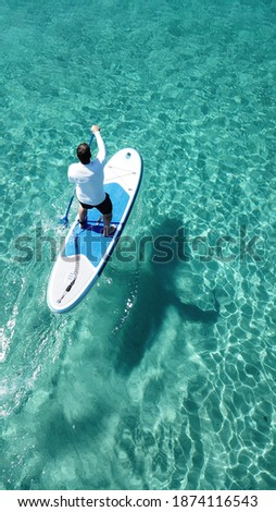 Aerial drone photo of man practising SUP or Stand Up Paddle with his dog in tropical exotic emerald bay