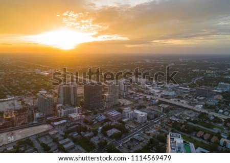 Aerial drone photo of midtown Miami at sunset dusk #1114569479