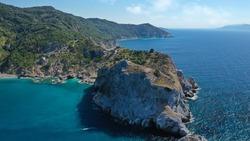 Aerial drone photo of scenic landmark old Byzantine castle of Skiathos island built on a cliff overlooking the Aegean sea, Sporades, Greece