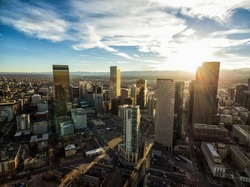 Aerial/Drone photo of the capital city of Denver Colorado at sunset