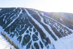 Aerial drone photo of the ski hill in the Chic Chocs. Murdochville, Quebec, Canada
