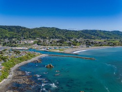 Aerial Drone Photo Overlooking Brookings, Oregon and the Pacific Ocean on a sunny day