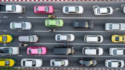 Aerial drone photograph of traffic jam in metropolis city.