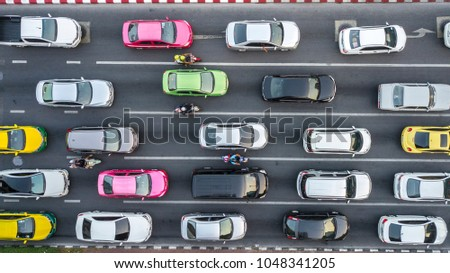 Aerial drone photograph of traffic jam in metropolis city. #1048341205