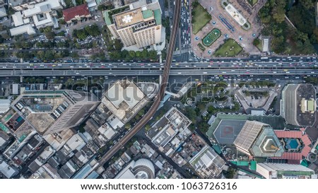 Aerial drone photograph of traffic jam in metropolis city. #1063726316