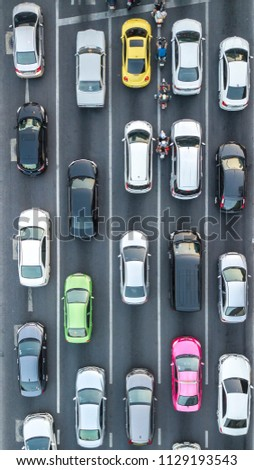 Aerial drone photograph of traffic jam in metropolis city. #1129193543