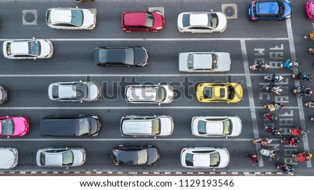 Aerial drone photograph of traffic jam in metropolis city. #1129193546