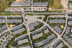 Aerial drone photography of a modern suburban area, Greater Poland.