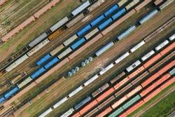 Aerial drone photography of train tracks, logistics cargo