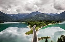 Aerial drone pic of bridge on Sylvenstein lake