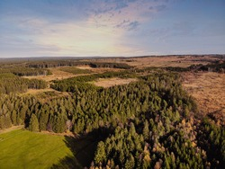 Aerial drone point of view of High Fens Hohes Venn Hautes Fagnes Hoge Venen nature reserve in Belgium  Beauty in nature