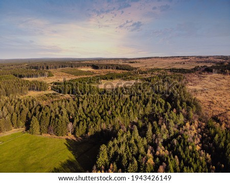 Aerial drone point of view of High Fens Hohes Venn Hautes Fagnes Hoge Venen nature reserve in Belgium  Beauty in nature Photo stock ©
