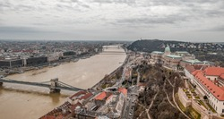 Aerial drone shot of Buda Castle on Buda hill in Budapest winter