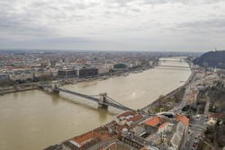 Aerial drone shot of Buda Castle on Buda hill in Budapest winter morning