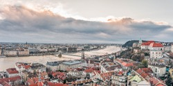Aerial drone shot of Danube river by Buda Hill in Budapest winter morning