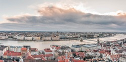 Aerial drone shot of Danube river from Buda Hill in Budapest winter morning