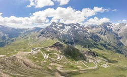 Aerial drone shot of serpentine high alpine road Taxenbacher Fusch below Edelweissspitze in Grossglockner in Austria