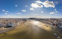 Aerial drone shot of Szchenyi Bridge over Danube in Budapest winter morning