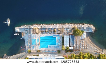 Aerial drone top view photo of luxury tropical resort with large pool located in mediterranean destination #1285778563