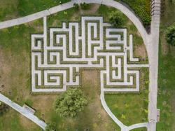 Aerial drone view. Labyrinth in the park.
